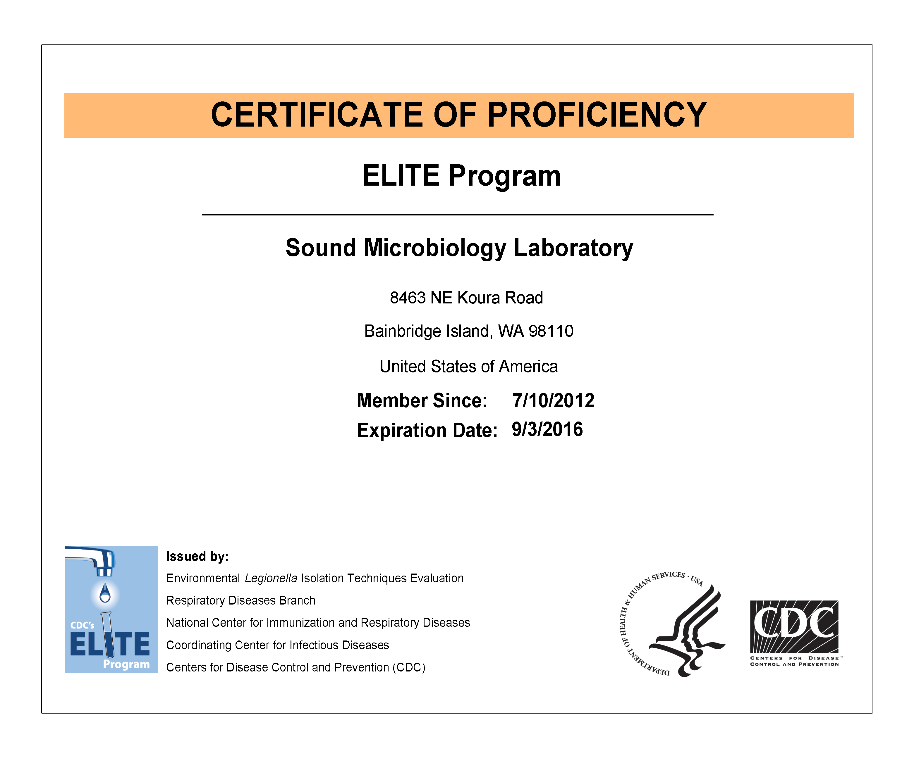 CDC-ELITE Certification-2016 - Sound Microbiology Laboratory ...
